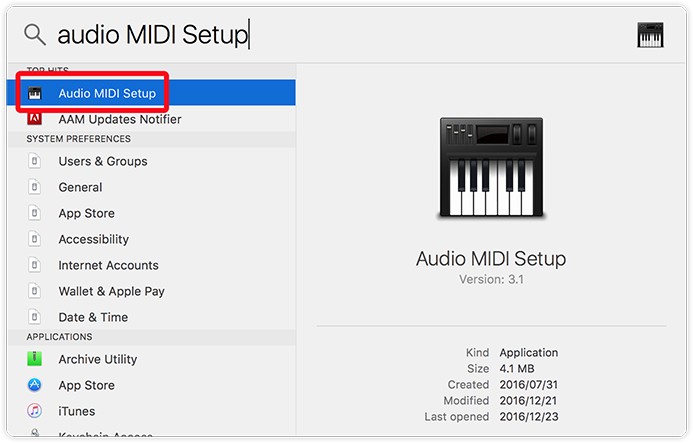Opening the Audio MIDI Setup tool
