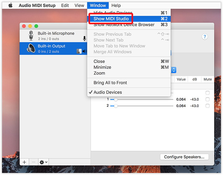 Selecting Show MIDI Studio from the Audio MIDI Setup tool