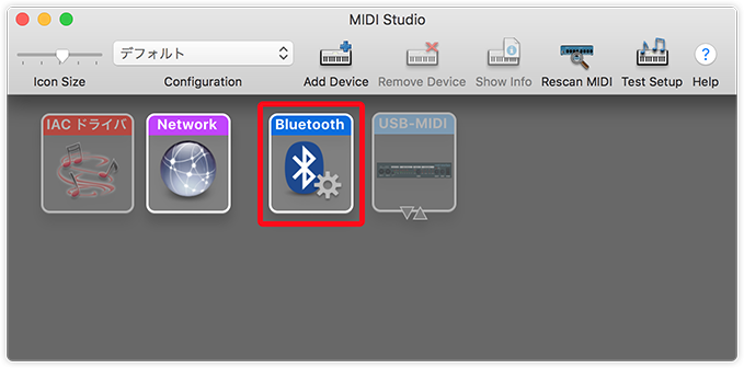 Selecting Bluetooth in the MIDI Studio window